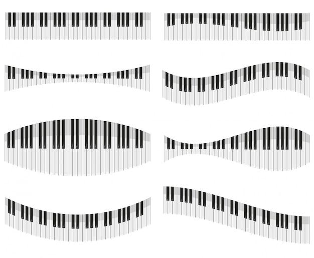 Teclas del piano para diferentes formas de ilustración vectorial de diseño