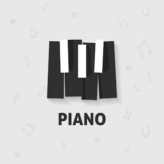 Teclas de piano planas en blanco y negro.
