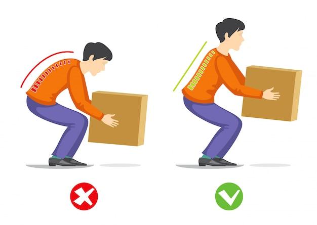 Técnica correcta e incorrecta para levantar objetos pesados. infografía sanitaria.