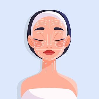 Técnica de masaje facial dibujado a mano plana