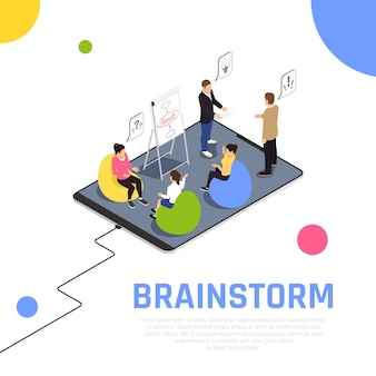 La técnica de trabajo en equipo de lluvia de ideas hace que los miembros del equipo trabajen juntos resuelve problemas crea nuevas ideas composición isométrica