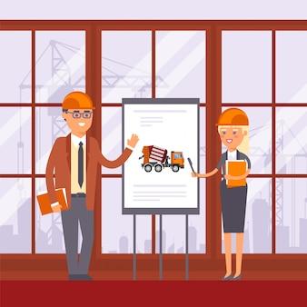 Técnico de construcción, discusión sobre el uso de la máquina en la ilustración de gestión. hombre y mujer cerca de stand con equipo.
