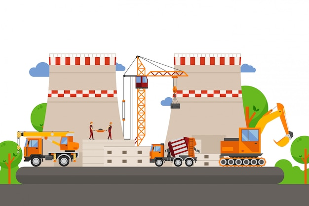 Técnico de construcción, ilustración de producción de edificios. grúa de carga entre proyecto de columna de hormigón. camión con cuchara