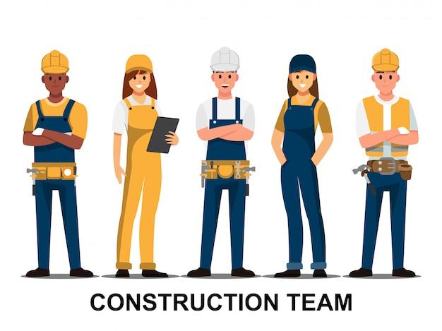 Técnico y constructores e ingenieros y mecánicos. equipo de personas.