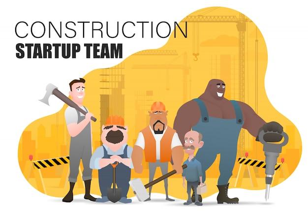 Técnico y constructores e ingenieros y mecánicos y trabajadores de la construcción, trabajo en equipo, personaje de dibujos animados de ilustración. plantilla de diapositiva de página de destino
