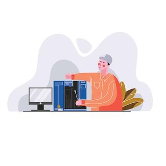 Técnico trabajando en una ilustración de vector de computadora personal