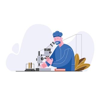 Los técnicos en trajes de sala limpia steril usan el microscopio para la ilustración vectorial de reaserch de componentes