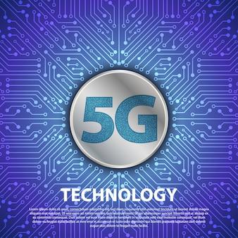 La tecnología 5g con placa de circuito es de fondo