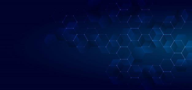 Tecnología abstracta azul brillante forma de hexágonos