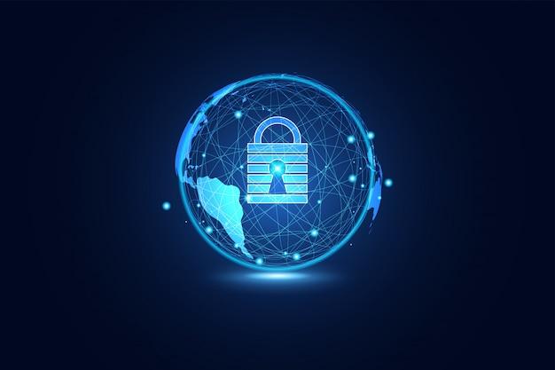 Tecnología abstracta ciberseguridad mundial.