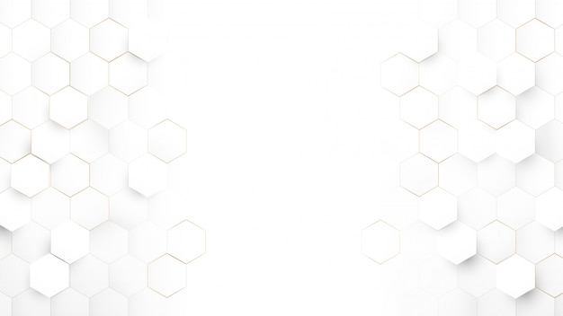 Tecnología abstracta, concepto futurista digital de alta tecnología. resumen fondo hexagonal blanco y oro.