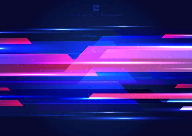 Tecnología abstracta fondo geométrico azul y rosa