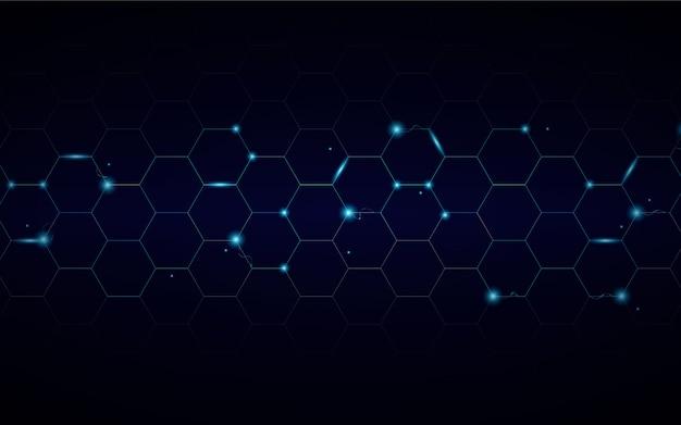 Tecnología abstracta fondo hexagonal con luz eléctrica