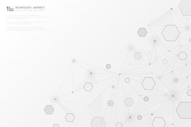 Tecnología abstracta gris líneas geométricas hexagonales conexión sobre fondo blanco.