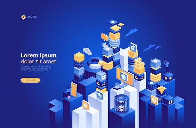 Tecnología abstracta isométrica, concepto de gestión de red de datos.