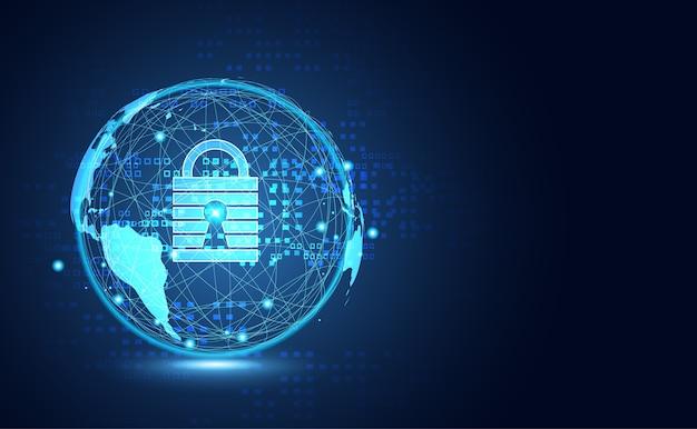 Tecnología abstracta mundo enlace digital seguridad cibernética