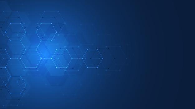 Tecnología abstracta o antecedentes médicos con patrón de forma de hexágonos