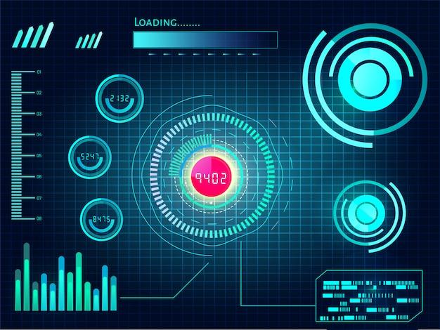 Tecnología abstracta ui concepto futurista hud interfaz holograma elementos de datos digitales char y círculo por ciento vitalidad innovación sobre fondo futuro de alta tecnología