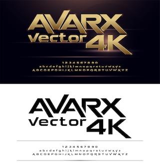 Tecnología alfabeto oro metálico y diseños de efectos