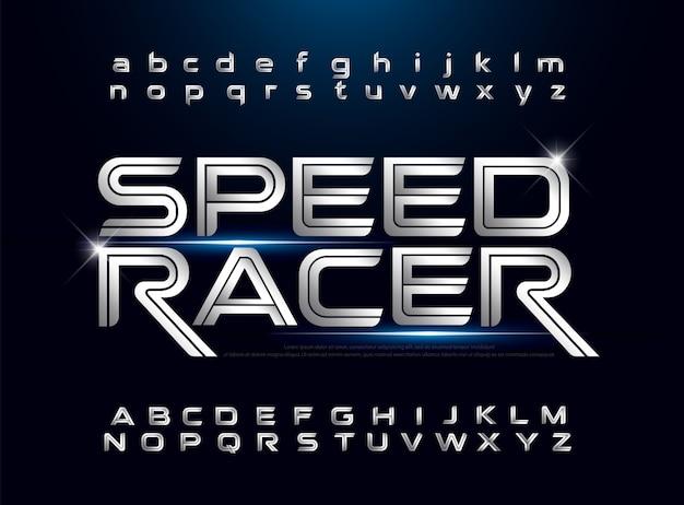 Tecnología alfabeto plata metálico y efecto diseños deporte concepto