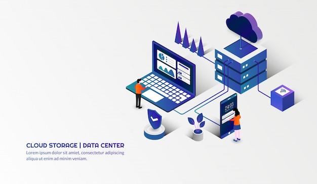 Tecnología de almacenamiento en la nube y concepto de centro de datos