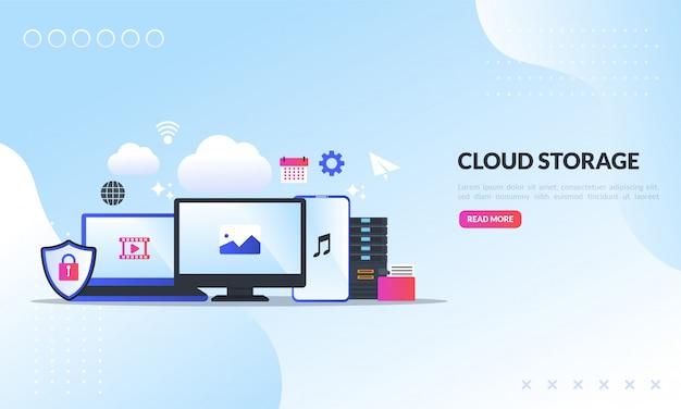 Tecnología de almacenamiento en la nube, plantilla