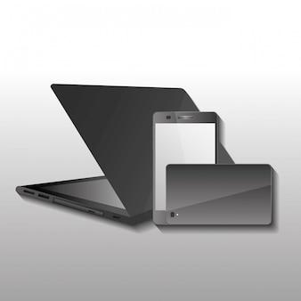 Tecnología artilugio inalámbrico, portátil y teléfono. imagen frontal y posterior del teléfono.