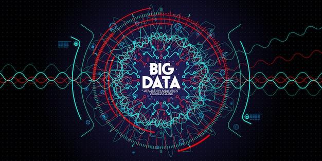 Tecnología avanzada de datos grandes y visualización con elementos fractal con líneas y puntos en la oscuridad