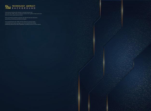 La tecnología azul del gradiente de lujo abstracto con oro brilla el fondo.