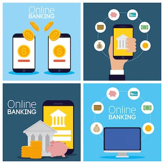 Tecnología bancaria en línea con dispositivos electrónicos
