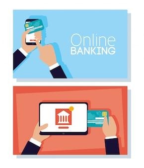 Tecnología bancaria en línea con tableta y teléfono inteligente