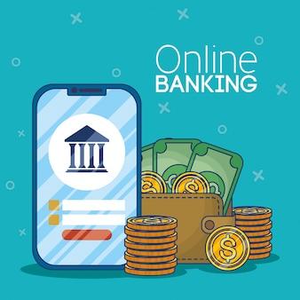 Tecnología bancaria en línea con teléfono inteligente