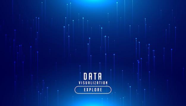 Tecnología big data digital fondo azul brillante