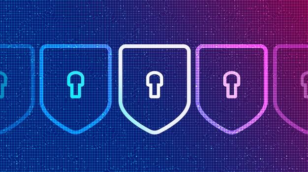 Tecnología binaria escudos seguridad, protección y conexión concepto de diseño de fondo ilustración vectorial.