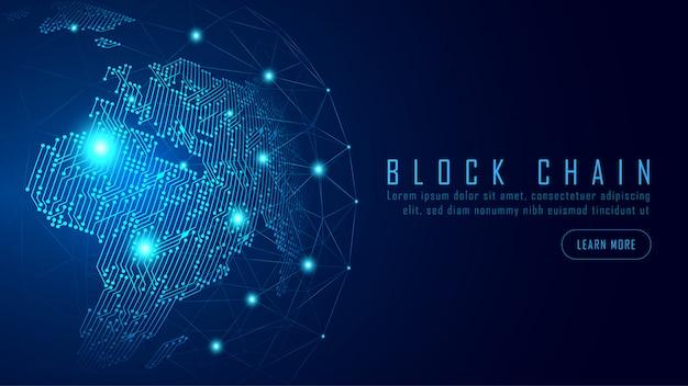 Tecnología blockchain con concepto de conexión global.