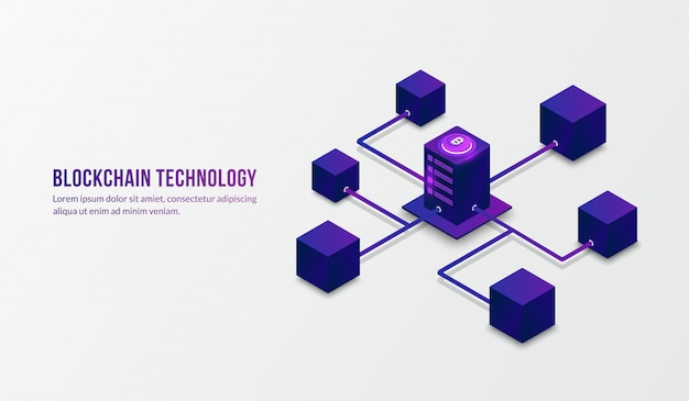 Tecnología de blockchain isométrica y concepto de big data