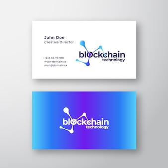 Tecnología blockchain resumen elegante logotipo