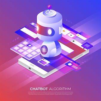 Tecnología de bot de chat de concepto isométrico. mensaje de chat de máquina de inteligencia artificial por aprendizaje automático. ilustrar.