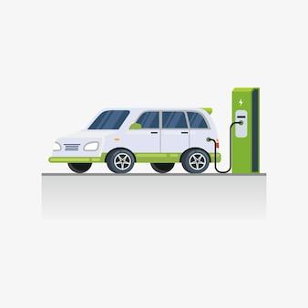 Tecnología de carga de vehículos eléctricos en la ilustración del área de estacionamiento