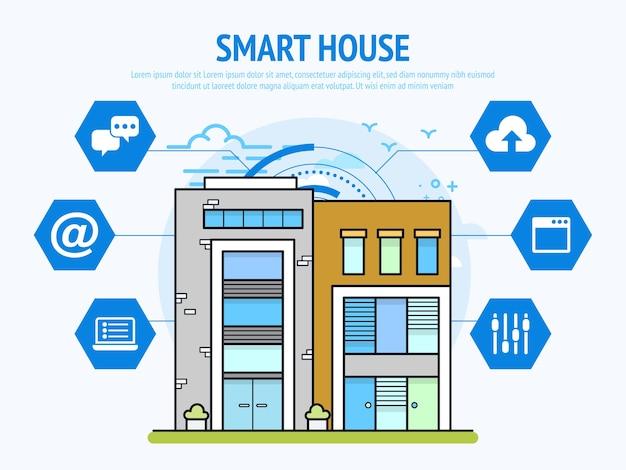 Tecnología de casa inteligente del concepto de automatización del hogar.