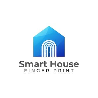 Tecnología casa inteligente diseño de logotipo de huella digital combinada