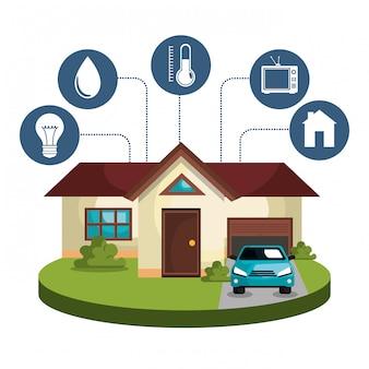 Tecnología de casa inteligente establece iconos