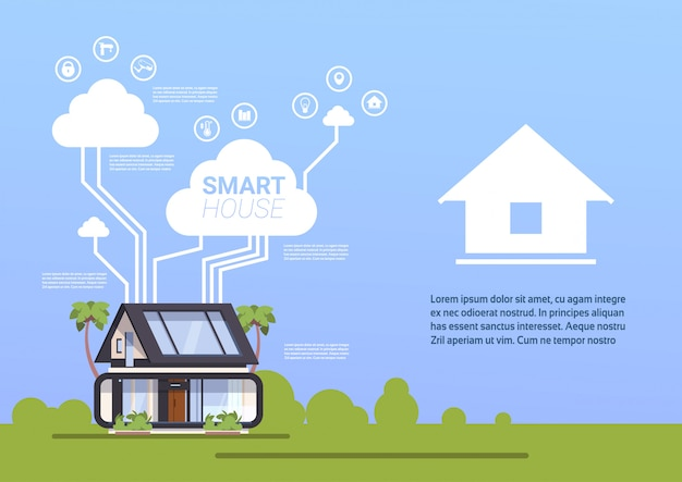 Tecnología de casa inteligente de fondo de infografía plantilla de concepto de automatización del hogar
