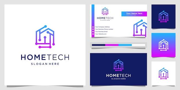 Tecnología casera con logotipo de estilo de arte de línea de puntos de conexión y tarjeta de visita. tecnología de símbolo de idea creativa.