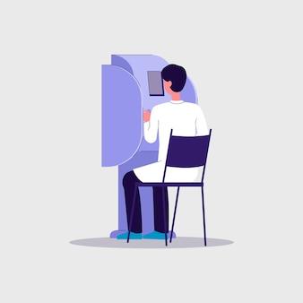 Tecnología de cirugía asistida por robot en el cuidado de la salud con carácter de hombre médico trabajando en equipos médicos avanzados, ilustración sobre fondo blanco.