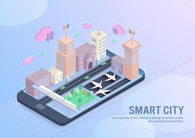Tecnología de ciudad inteligente en vector isométrico