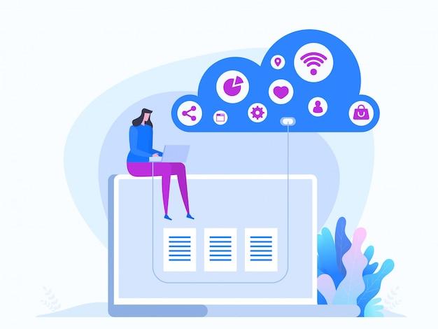 Tecnología cloud en estilo plano