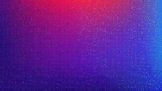 Tecnología colorida de microchip de circuito en el futuro, diseño de alta tecnología digital y concepto de comunicación, espacio libre para texto en texto