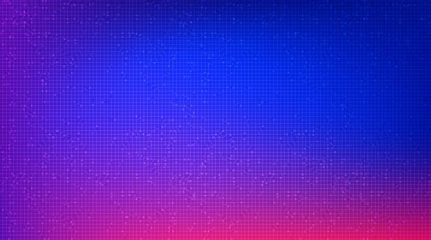 Tecnología colorida de microchip de circuito en el futuro fondo, diseño de alta tecnología digital y concepto de comunicación