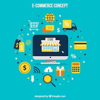 Tecnología, compras e iconos